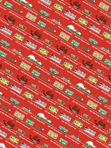 """ Ho! Ho! Hong Kong! "" Red Wrapping Paper"