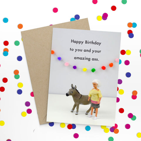 """ Amazing Ass Birthday "" Greeting Card"