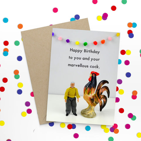 """ Marvellous Cock Birthday "" Greeting Card"
