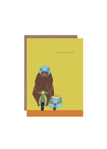 """ Bear On A Bike "" Card"