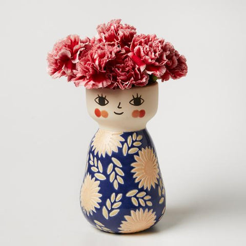 Miss Cozette Floral Blue Face Vase