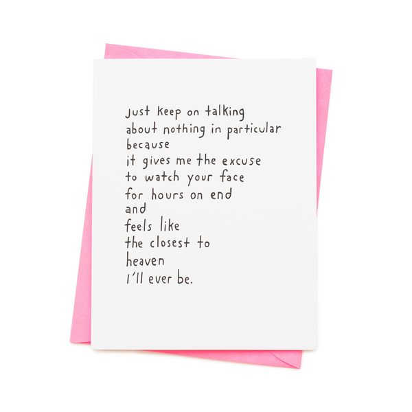 ' Just keep on talking ' Card