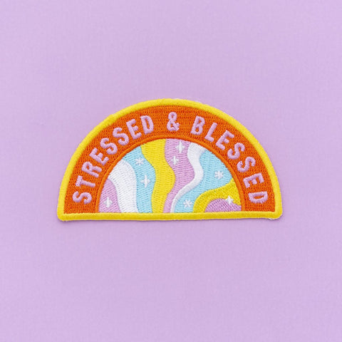Stressed and Blessed Embroidered Iron On Patch