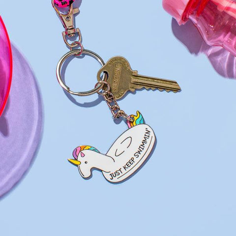 Just Keep Swimmin Unicorn Enamel Keyring