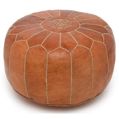 Saddle Brown Moroccan Leather Pouf