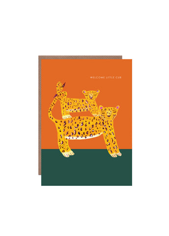 """ Leopard with Cub "" Card"