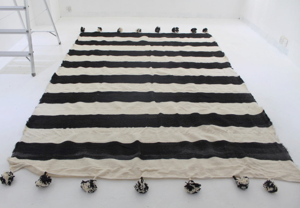 Black Striped Pom Pom Blanket Pom Pom Blanket - Thorn and Burrow