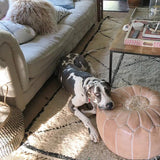Latte Moroccan Leather Pouf