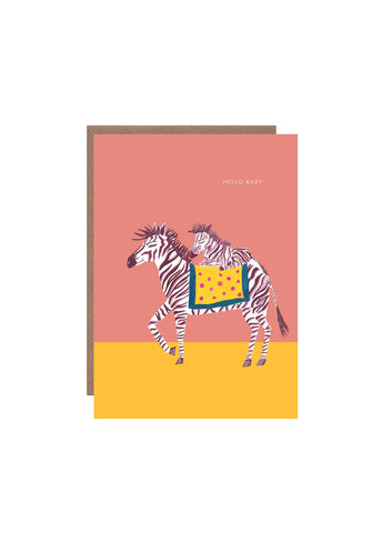 """ Zebra with Baby "" Card"