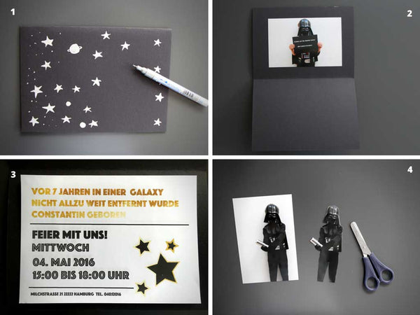 coole star wars geburtstag einladung selber basteln my great party. Black Bedroom Furniture Sets. Home Design Ideas