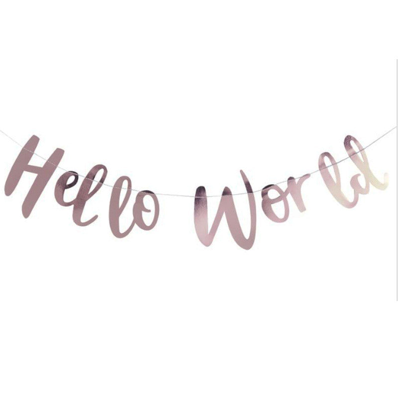 "Party Girlande ""Hello World"" Rosé-Gold"