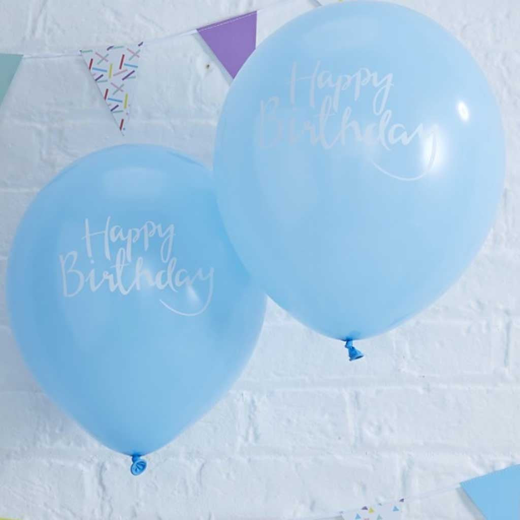 "Ballon ""Happy Birthday"" Hellblau (10 Stk.)"