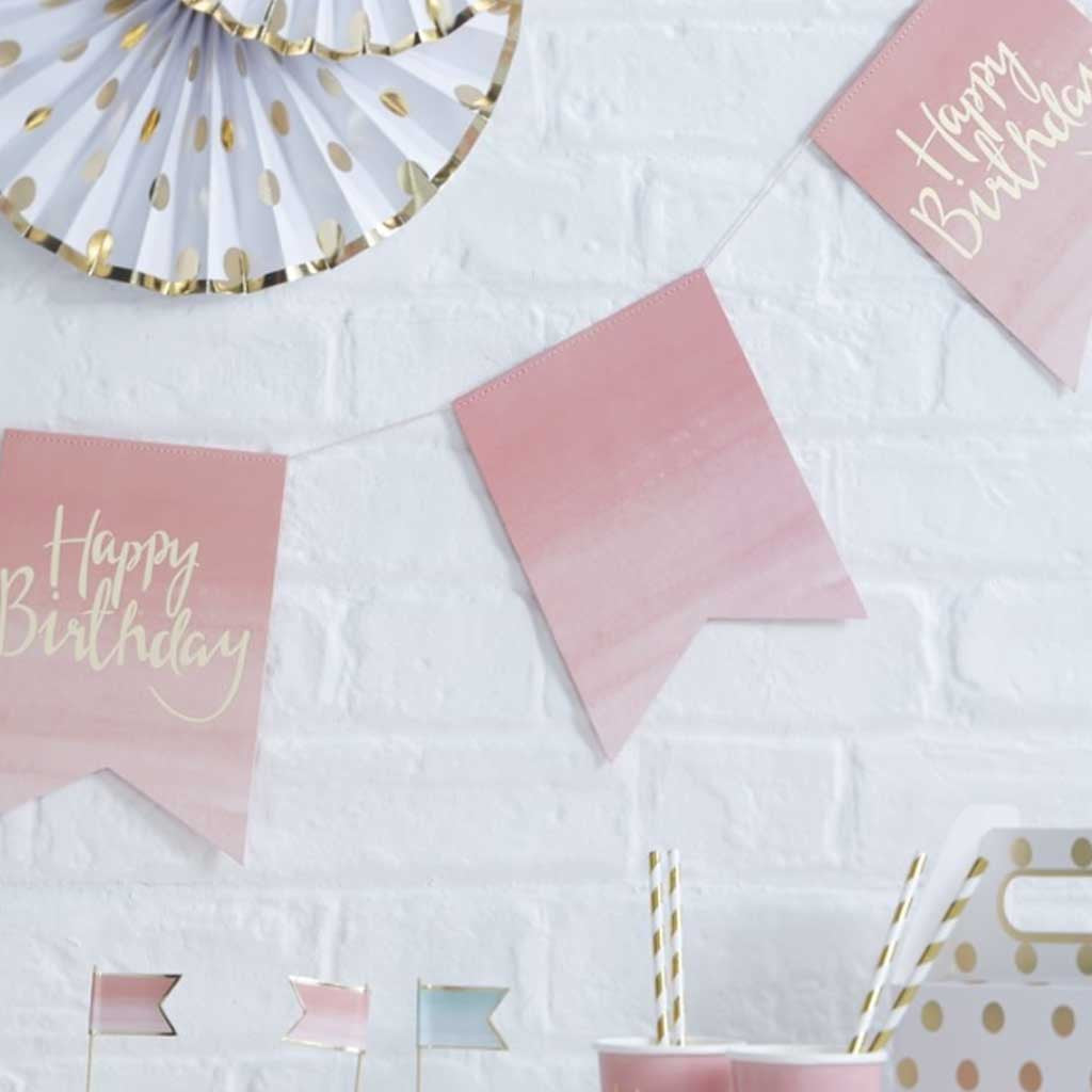 "Geburtstagsgirlande ""Happy Birthday"" Pink Ombre"