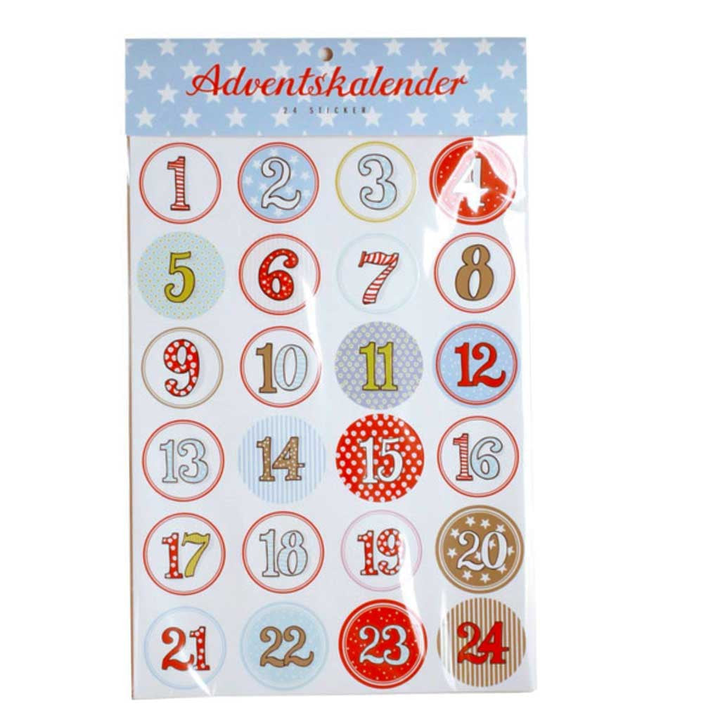 Adventskalender Zahlen Sticker