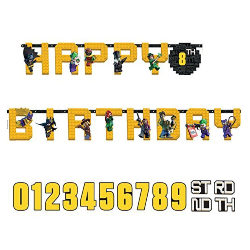 Banner Lego Batman Happy Birthday mit Alter Banner, 3,2 m x 25 cm. Von Amscan.