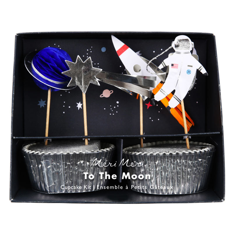 "Weltraum Cupcake-Kit ""To The Moon"""