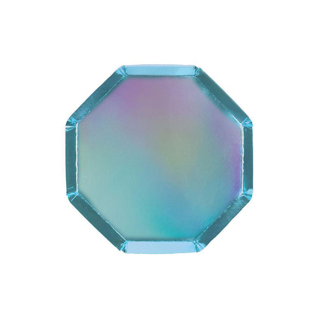 Cocktail Pappteller Holographisch Blau Metallic