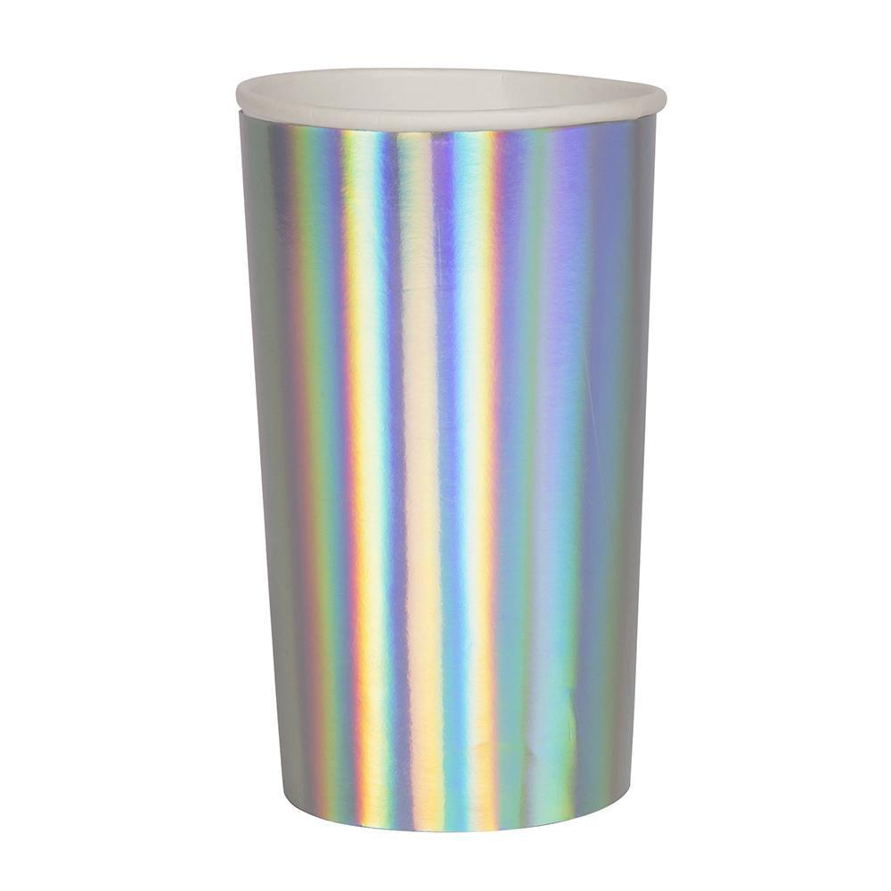 Longdrink Pappbecher Silber Holographisch