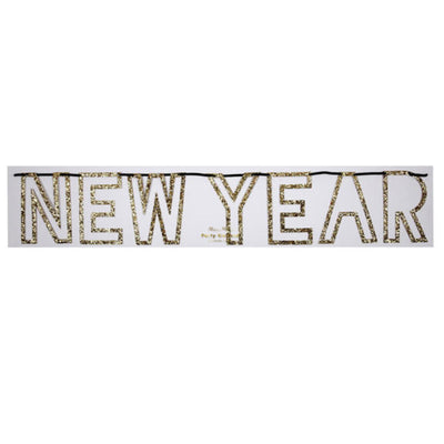 "Meri Meri Buchstaben Girlande Gold Glitter ""HAPPY NEW YEAR""."
