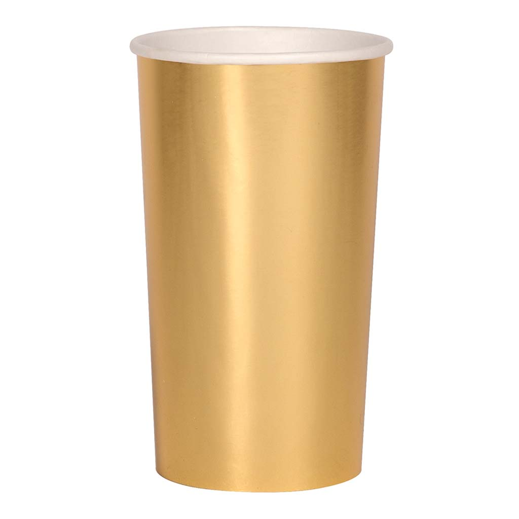 Meri Meri. Longdrink Pappbecher Gold Metallic. 8er Set.
