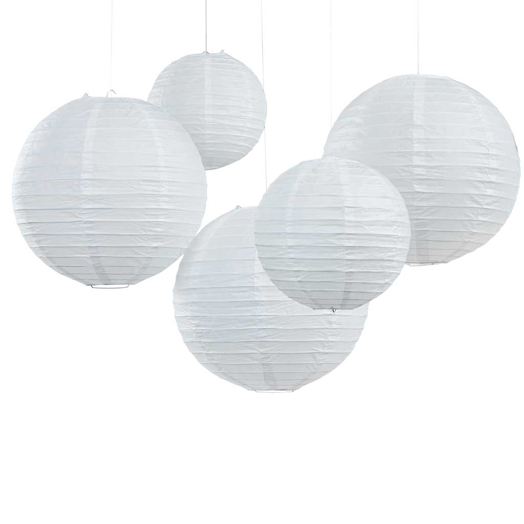 Papier Lampion Set in Weiss (5 tlg.)