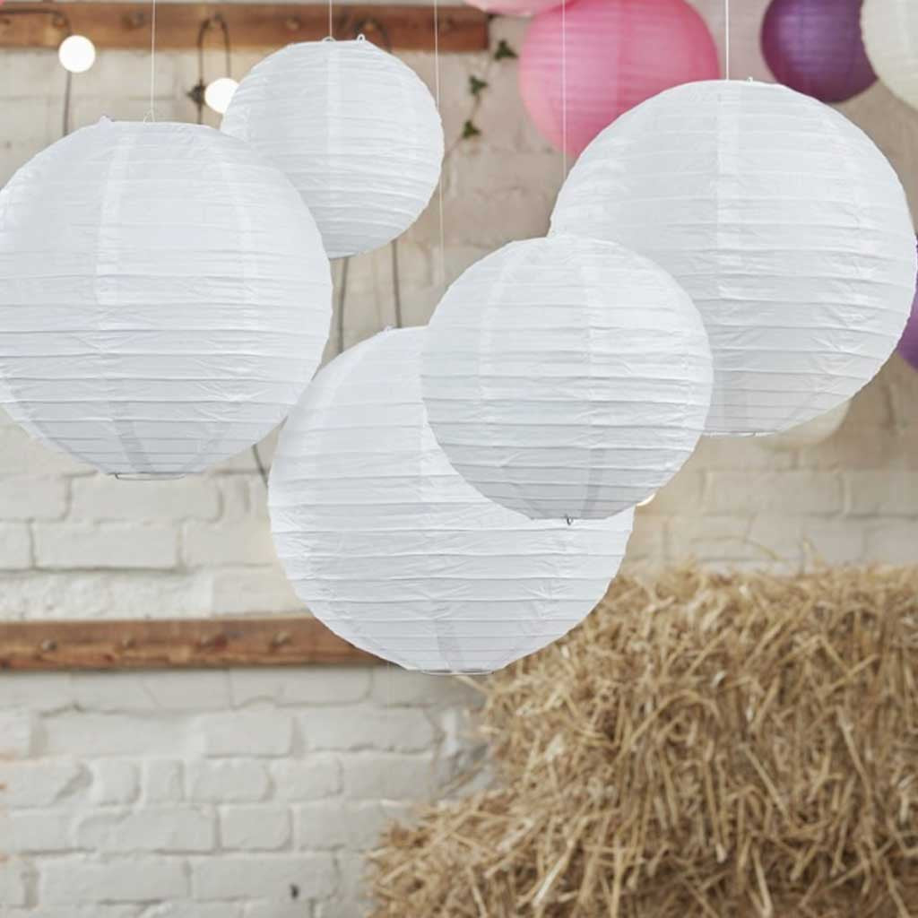 papier lampion set in weiss 5 tlg 2 x 30 cm 3 x 20 5 cm durchmesser my great party. Black Bedroom Furniture Sets. Home Design Ideas