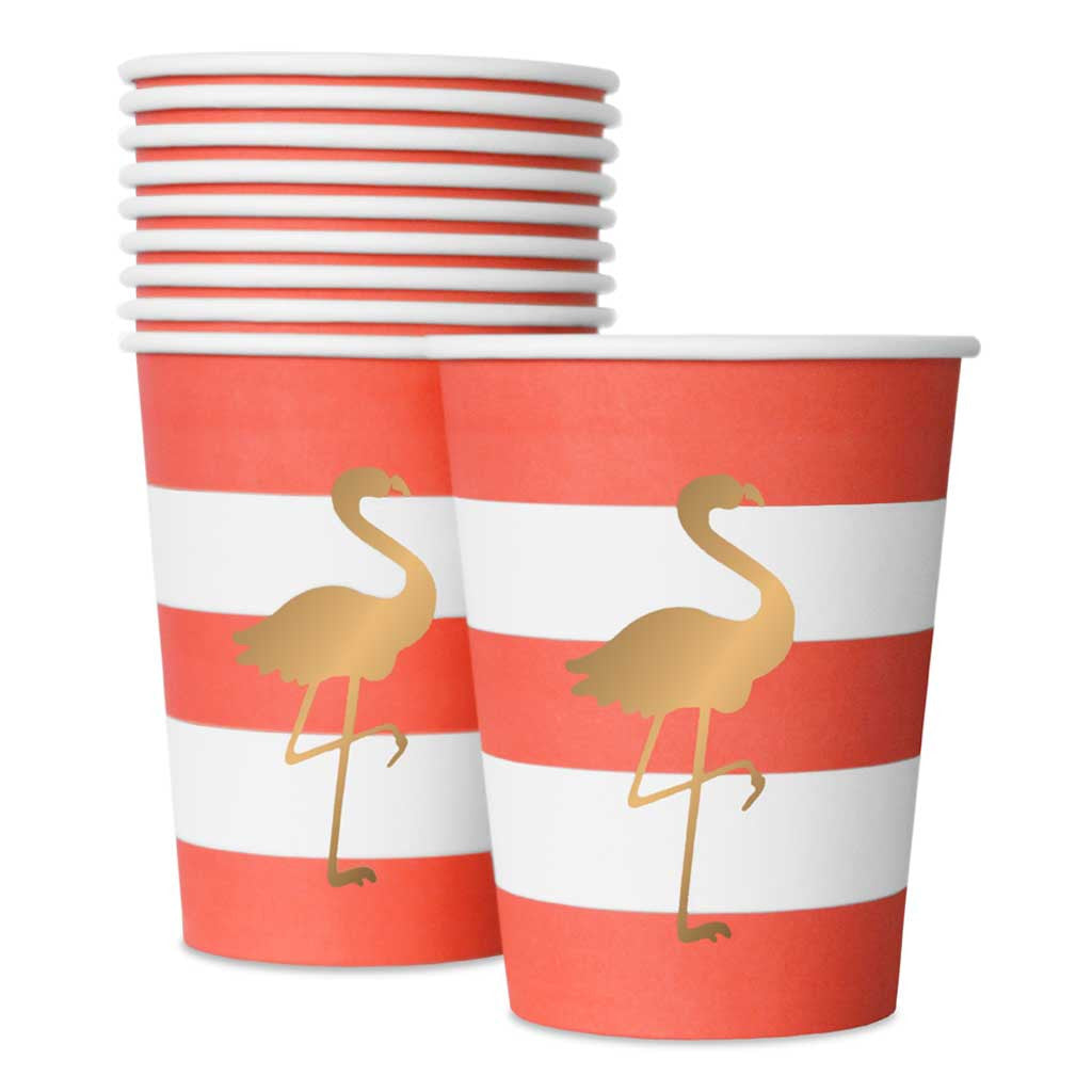 "Pappbecher ""Preppy Flamingo"" , stylische Partyprodukte von Delight Department."
