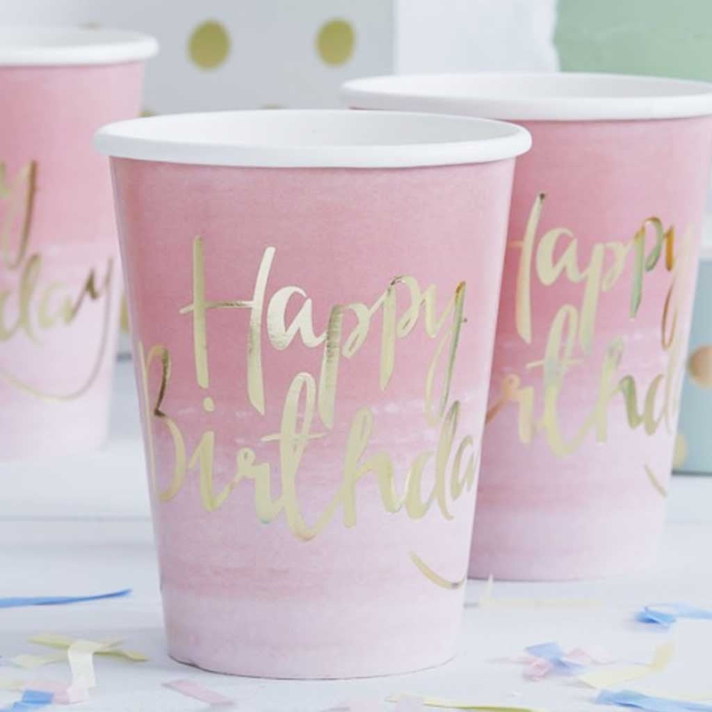 "Pappbecher ""Happy Birthday"" Pink Ombre"
