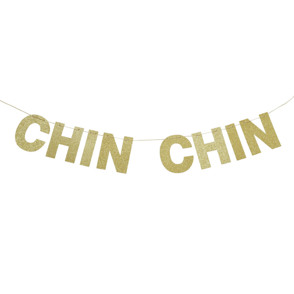 "Party Buchstaben Girlande ""Chin Chin"" mit goldenem Glitter. Von Delight Department."