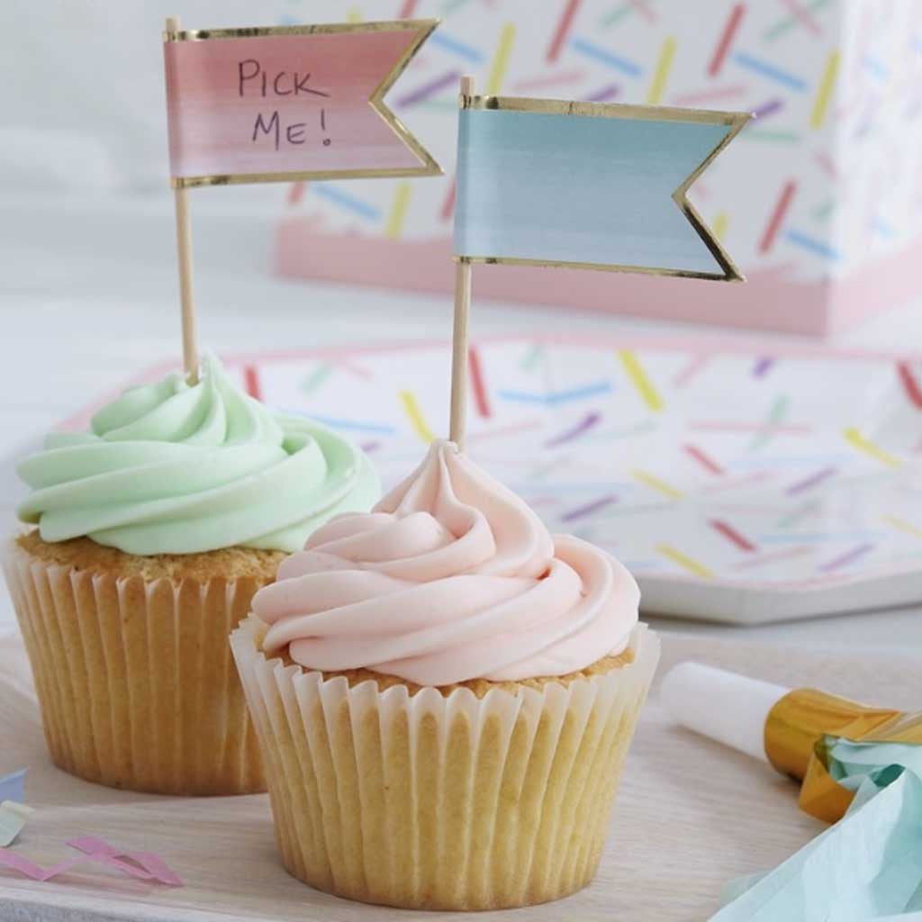 "Party Picker Fähnchen ""Happy Birthday"" Pink Ombre"
