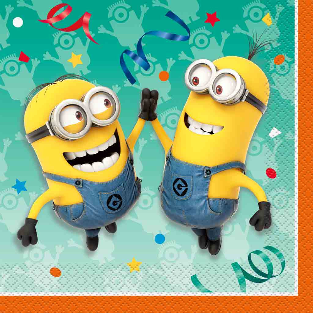 Minions Servietten, 16 Stück, 33 x 33 cm, von Unique Party Supplies.