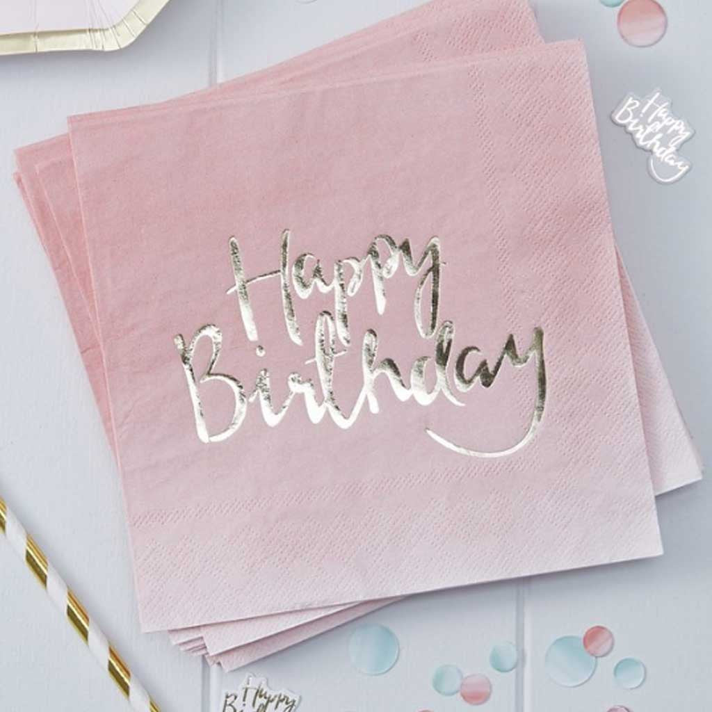 "Serviette ""Happy Birthday"" Pink Ombre (20 Stk.)"