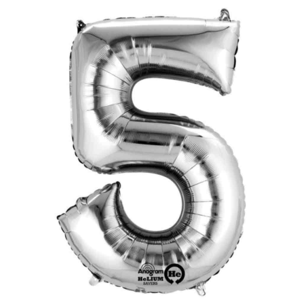 "XXL Folienballon Zahl ""5"" SuperShape Silber Metallic"