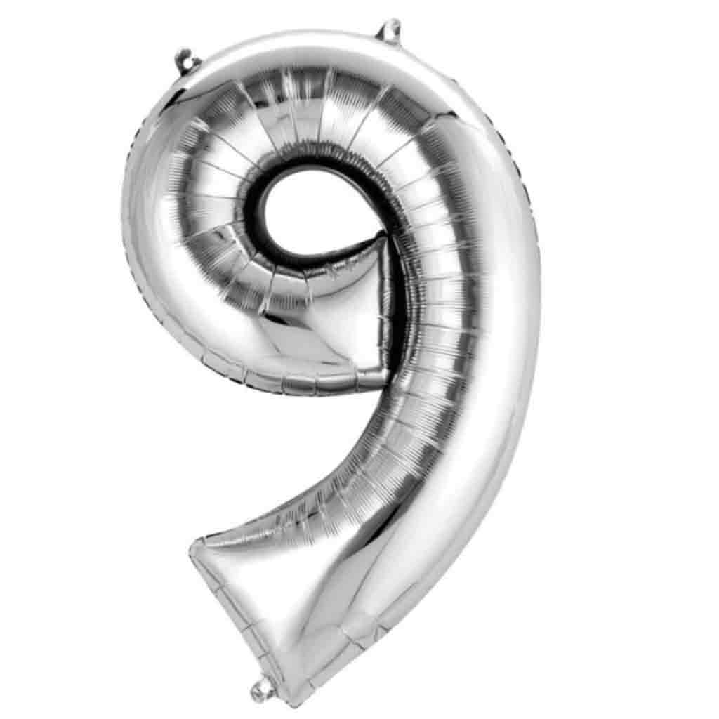 "XXL Folienballon Zahl ""9"" SuperShape in Silber Metallic von Anagram."