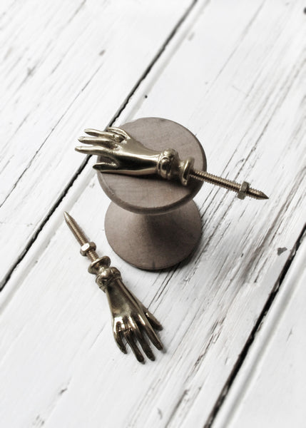 Brass Hand Cupboard Knobs - Montys Vintage Shop - 1