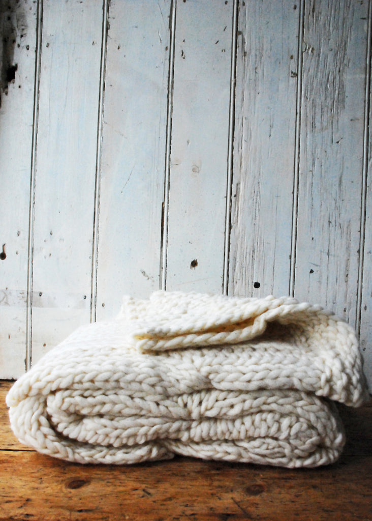 Chunky Knit Wool Blanket - Montys Vintage Shop - 1