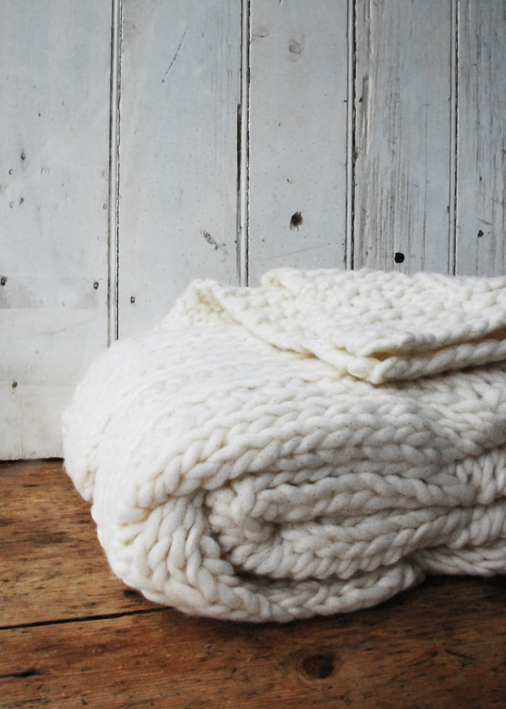 Chunky Knit Wool Blanket - Montys Vintage Shop - 3