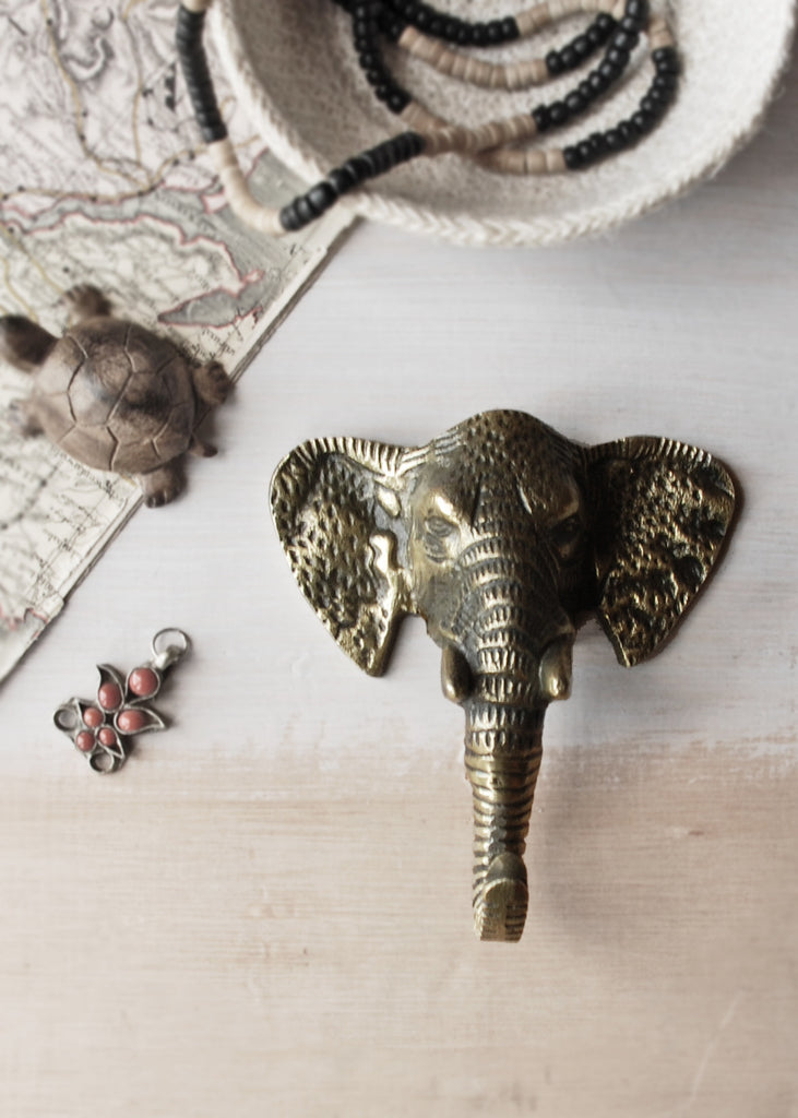 Elephant Brass Coat Hook - Montys Vintage Shop - 3