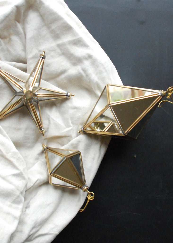 Mirrored Prisms Christmas Decorations - Montys Vintage Shop - 1