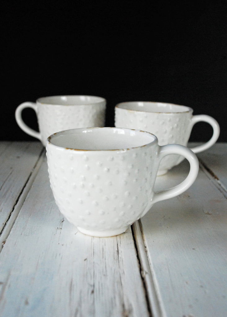 White Textured Mug - Montys Vintage Shop - 2
