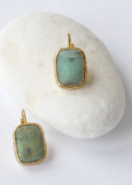 Aquamarine Stone Drop Earrings - Montys Vintage Shop - 1