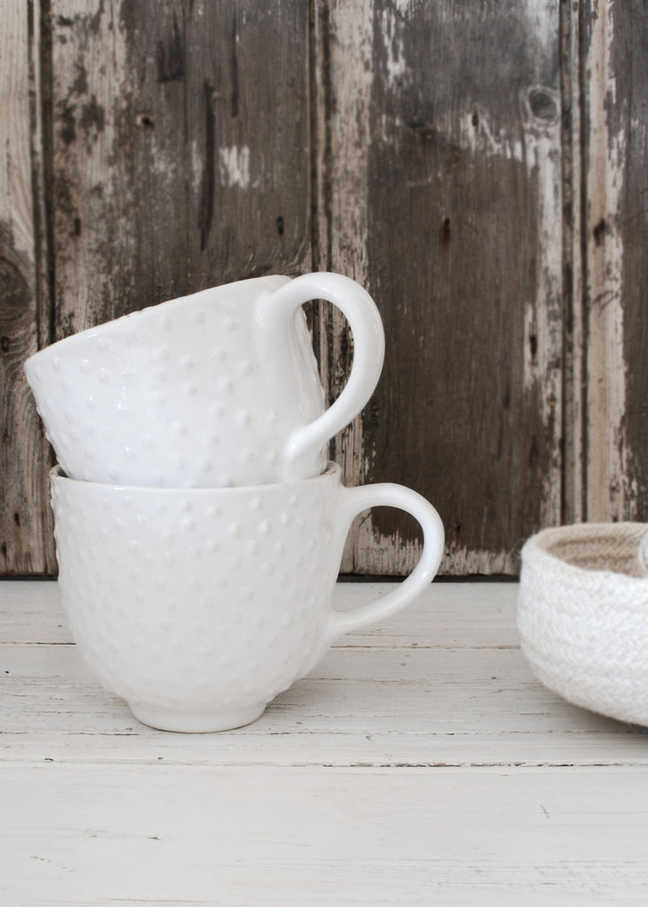 White Textured Mug - Montys Vintage Shop - 1