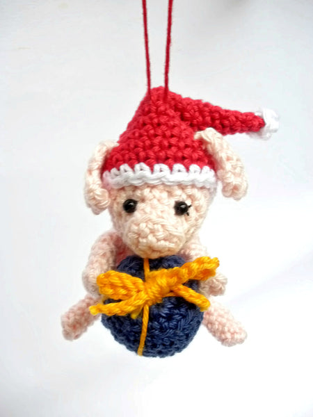 Christmas pig crochet ornament, cute tree decoration