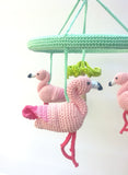 Pink Flamingo Baby Mobile - Crochet on a tree