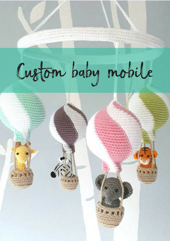 Custom hot air balloon mobile, personalized nursery gift