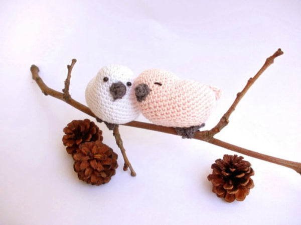Crochet love birds decoration, crochet doves decor, bird lover gift