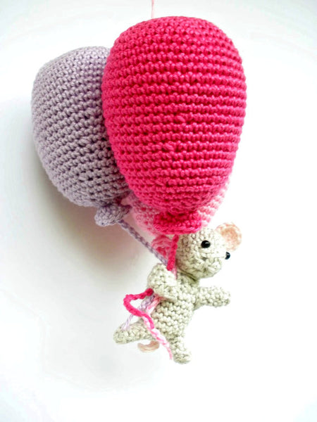 Balloon with mouse decoration for a baby girl's nursery