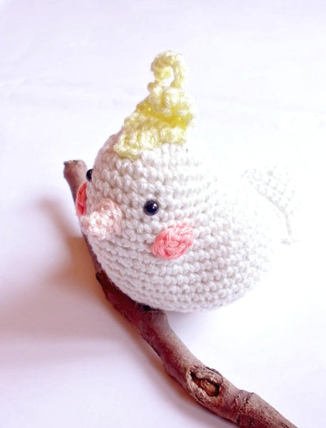Cockatiel crochet stuffed animal, amigurumi bird, cockatiel parrot toy