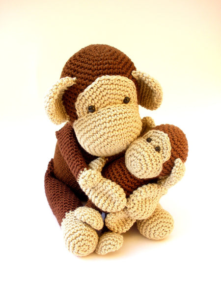 Crochet Monkeys, handmade stuffed monkey with baby