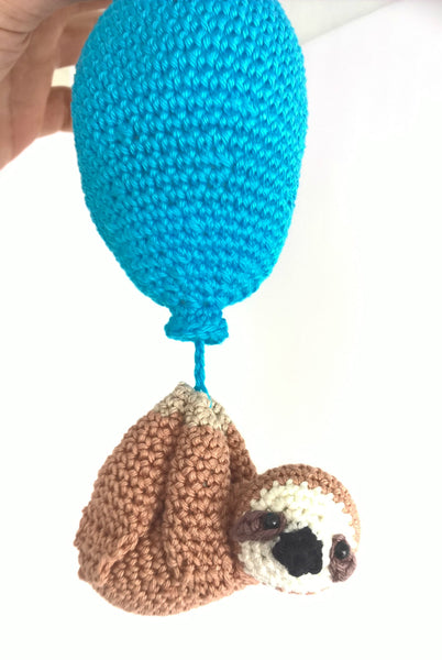 Sloth baby toy, sloth baby gift, sloth with balloon